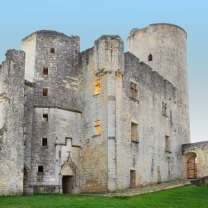 Rauzan, France – April 10, 2020 : The medieval feudal castle of